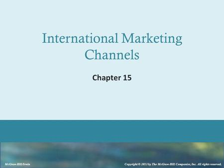 International Marketing Channels