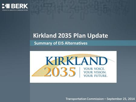 Kirkland 2035 Plan Update Summary of EIS Alternatives Transportation Commission – September 25, 2014.