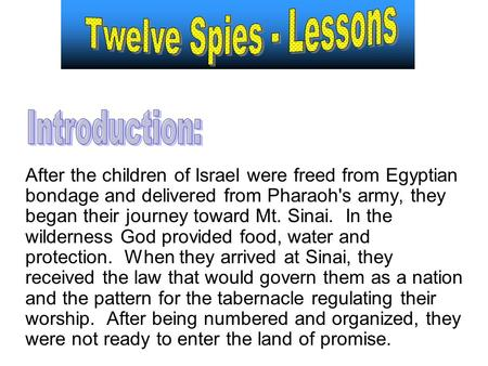 After the children of Israel were freed from Egyptian bondage and delivered from Pharaoh's army, they began their journey toward Mt. Sinai. In the wilderness.