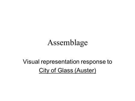 city of glass response