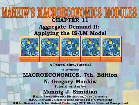 Chapter Eleven1 CHAPTER 11 Aggregate Demand II: Applying the IS-LM Model ® A PowerPoint  Tutorial To Accompany MACROECONOMICS, 7th. Edition N. Gregory.