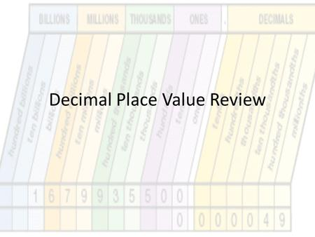 Decimal Place Value Review. Write each decimal in word form. 1.2.3 2.0.68 3.0.0036 4.32.501.