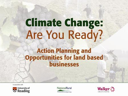 Supporting Adaption: Guidance, Tools and Learning through Doing Mr Roger Street UK Climate Impacts Program.