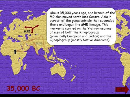 35,000 BC M175 M45 M20 M9 About 35,000 years ago, one branch of the M9 clan moved north into Central Asia in pursuit of the game animals that abounded.