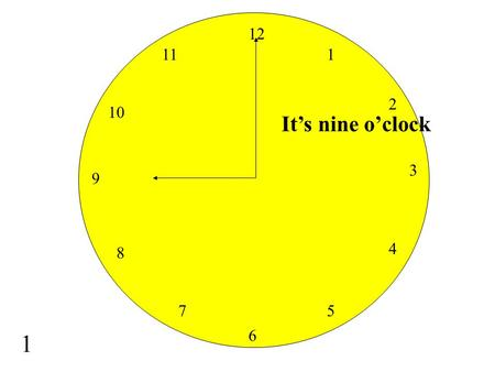 It's nine o'clock 12 6 3 9 1 2 4 5 7 8 10 11 1 It's four o'clock 12 6 3 9 1 2 4 5 7 8 10 11 2.