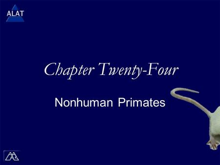 "Chapter Twenty-Four Nonhuman Primates.  If viewing this in PowerPoint, use the icon to run the show (bottom left of screen).  Mac users go to ""Slide."