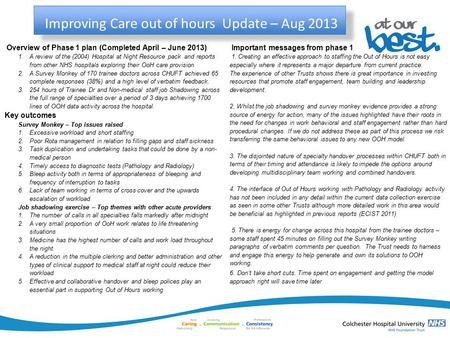 Improving Care out of hours Update – Aug 2013 Overview of Phase 1 plan (Completed April – June 2013) 1.A review of the (2004) Hospital at Night Resource.