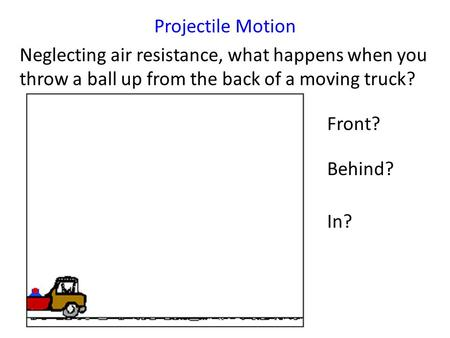 Projectile Motion Neglecting air resistance, what happens when you throw a ball up from the back of a moving truck? Front? Behind? In?