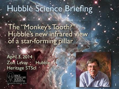 "Hubble Science Briefing The ""Monkey's Tooth?"" Hubble's new infrared view of a star-forming pillar 1 April 3, 2014 Zolt Levay ・ Hubble Heritage STScI."