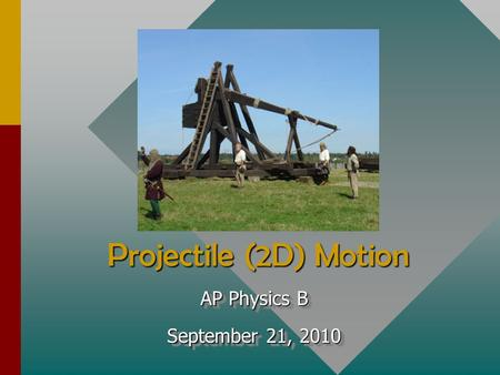 Projectile (2D) Motion AP Physics B September 21, 2010 AP Physics B September 21, 2010.