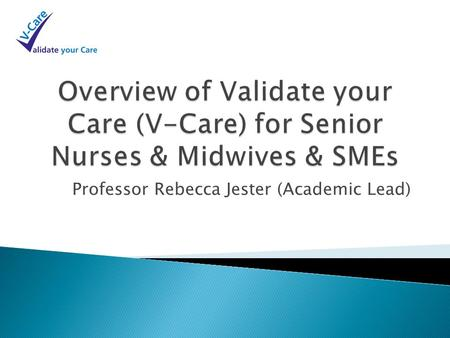Professor Rebecca Jester (Academic Lead).  Need for Trust to have assurance that its Nursing workforce has appropriate evidence based knowledge of fundamental,