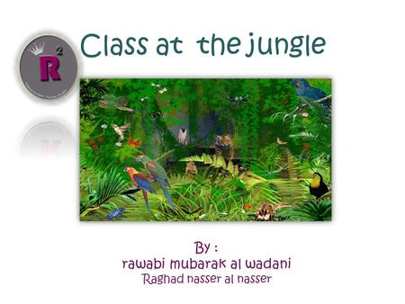 Class at the jungle By : rawabi mubarak al wadani Raghad nasser al nasser.