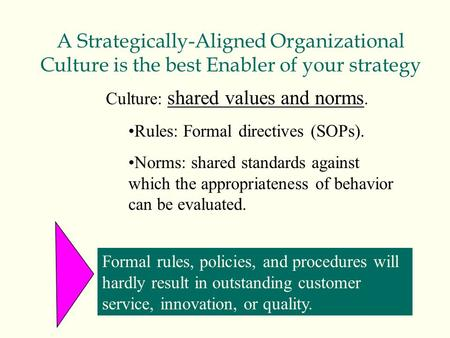 A Strategically-Aligned Organizational Culture is the best Enabler of your strategy Culture: shared values and norms. Rules: Formal directives (SOPs).