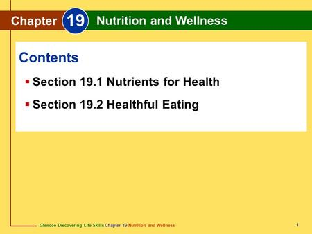 19 Contents Chapter Nutrition and Wellness