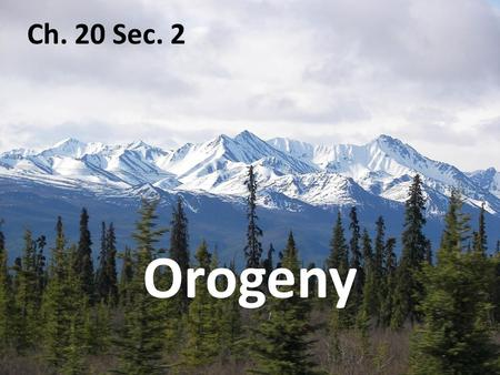 Ch. 20 Sec. 2 Orogeny Convergence causes the crust to thicken and form mountain belts. Orogeny Section 20.2 island arc: a line of islands that forms.