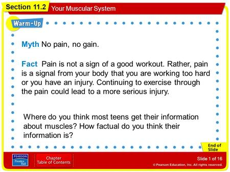 Myth No pain, no gain. Fact Pain is not a sign of a good workout. Rather, pain is a signal from your body that you are working too hard or you have an.