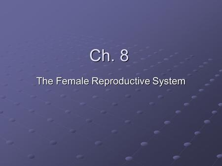 Ch. 8 The Female Reproductive System. Puberty When a female enters puberty they too go through many physical changes. Most obvious are breast development.
