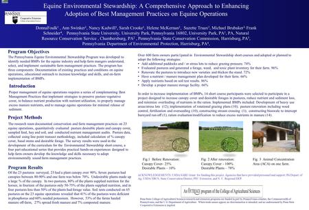 Equine Environmental Stewardship: A Comprehensive Approach to Enhancing Adoption of Best Management Practices on Equine Operations DonnaFoulk 1, Ann Swinker.