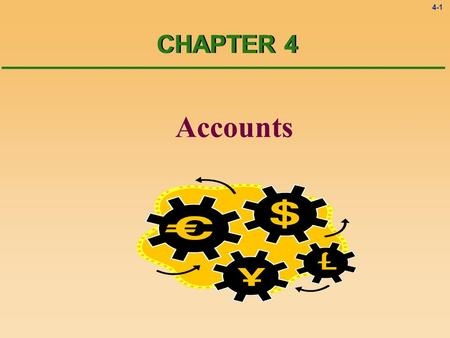 4-1 Accounts CHAPTER 4. 4-2 Accounts All the business transactions should be sorted out and classified. To record the transactions in the accounts can.