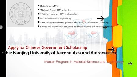 In Nanjing University of Aeronautics and Astronautics Master Program in Material Science and Technology Apply for Chinese Government Scholarship ■ E stablished.