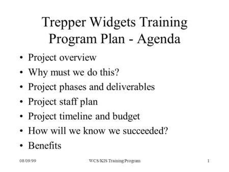 08/09/991WCS/KIS Training Program Trepper Widgets Training Program Plan - Agenda Project overview Why must we do this? Project phases and deliverables.