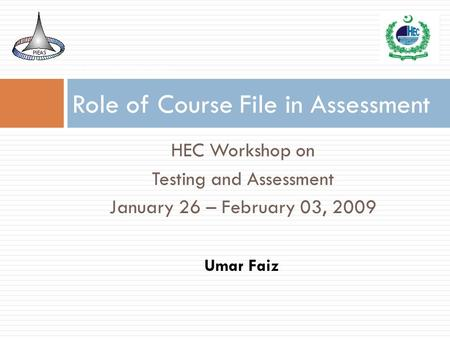 Role of Course File in Assessment
