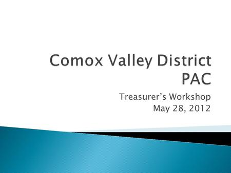 Treasurer's Workshop May 28, 2012.  PAC structure  PAC Financial Activity  Role of the PAC Treasurer  Financial Controls and Best Practices  Financial.
