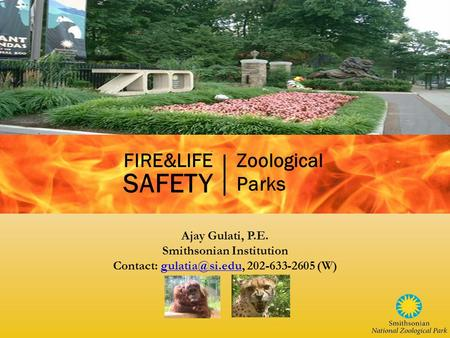 Ajay Gulati, P.E. Smithsonian Institution Contact: 202-633-2605 FIRE&LIFE SAFETY Zoological Parks.
