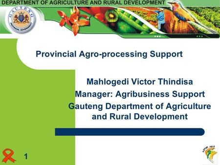 Mahlogedi Victor Thindisa Manager: Agribusiness Support Gauteng Department of Agriculture and Rural Development Provincial Agro-processing Support 1.