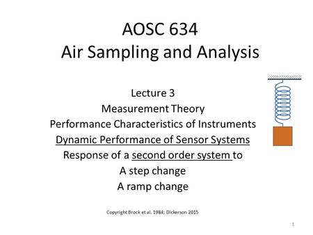 AOSC 634 Air Sampling and Analysis Lecture 3 Measurement Theory Performance Characteristics of Instruments Dynamic Performance of Sensor Systems Response.