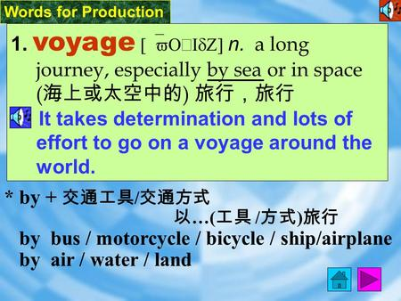 Words for Production 1. voyage [`vO ‧ IdZ] n. a long journey, especially by sea or in space ( 海上或太空中的 ) 旅行,旅行 It takes determination and lots of effort.