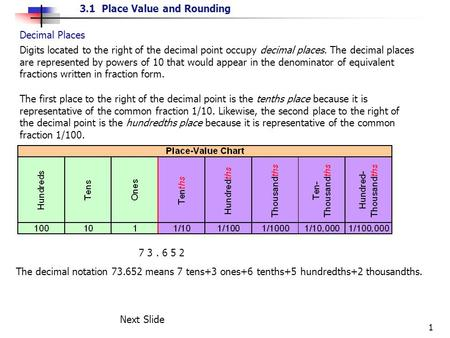 3.1 Place Value and Rounding 1 Decimal Places Digits located to the right of the decimal point occupy decimal places. The decimal places are represented.