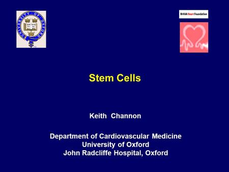 Stem Cells Keith Channon Department of Cardiovascular Medicine University of Oxford John Radcliffe Hospital, Oxford.