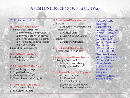APUSH UNIT 05; Ch 15-19: Post Civil War