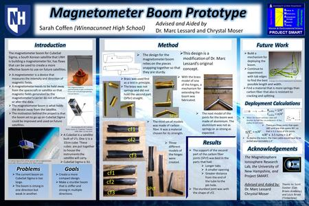 This magnetometer is approximately 4 cubic centimeters. It was built and photographed by Chrystal Moser. The magnetometer boom for CubeSat Sigma, a South.
