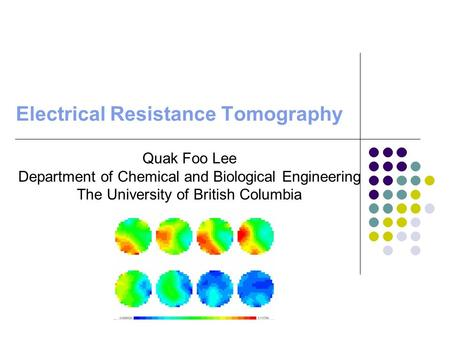 Electrical Resistance Tomography Quak Foo Lee Department of Chemical and Biological Engineering The University of British Columbia.