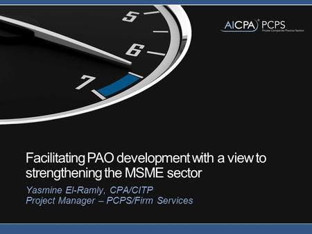Facilitating PAO development with a view to strengthening the MSME sector Yasmine El-Ramly, CPA/CITP Project Manager – PCPS/Firm Services.