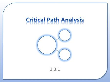 3.3.1. What Critical Path Analysis is. How to create a basic CPA diagram.