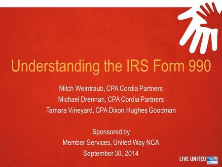 Understanding the IRS Form 990 Mitch Weintraub, CPA Cordia Partners Michael Drennan, CPA Cordia Partners Tamara Vineyard, CPA Dixon Hughes Goodman Sponsored.
