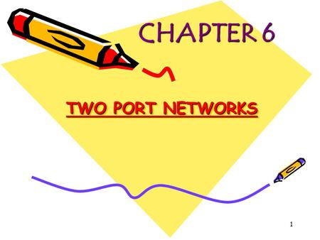 CHAPTER 6 TWO PORT NETWORKS.