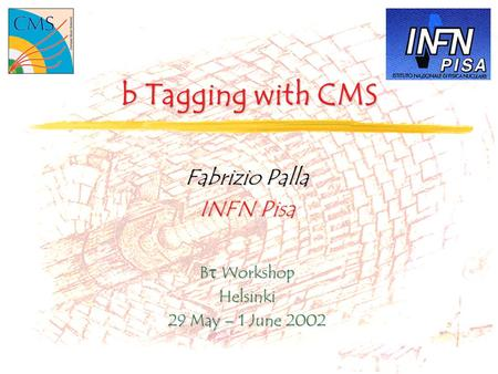 B Tagging with CMS Fabrizio Palla INFN Pisa B  Workshop Helsinki 29 May – 1 June 2002.