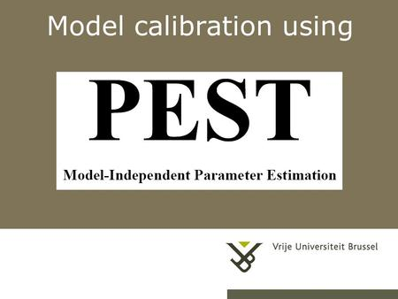 Model calibration using. Pag. 5/3/20152 PEST program.