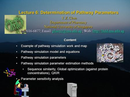Lecture 6: Determination of Pathway Parameters Y.Z. Chen Department of Pharmacy National University of Singapore Tel: 65-6616-6877;