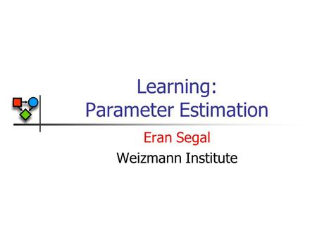 Learning: Parameter Estimation