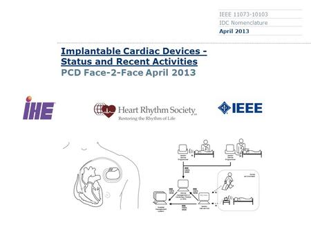 0 IEEE 11073-10103 IDC Nomenclature April 2013 Implantable Cardiac Devices - Status and Recent Activities PCD Face-2-Face April 2013.