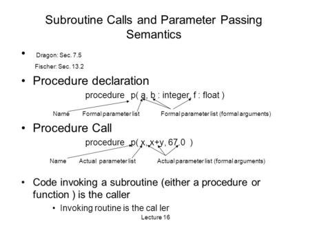 Lecture 16 Subroutine Calls and Parameter Passing Semantics Dragon: Sec. 7.5 Fischer: Sec. 13.2 Procedure declaration procedure p( a, b : integer, f :