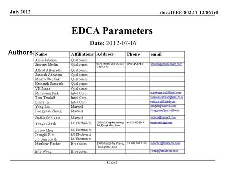 Doc.:IEEE 802.11-12/861r0 July 2012 EDCA Parameters Date: 2012-07-16 Authors: Slide 1.