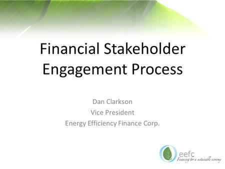 Financial Stakeholder Engagement Process Dan Clarkson Vice President Energy Efficiency Finance Corp.