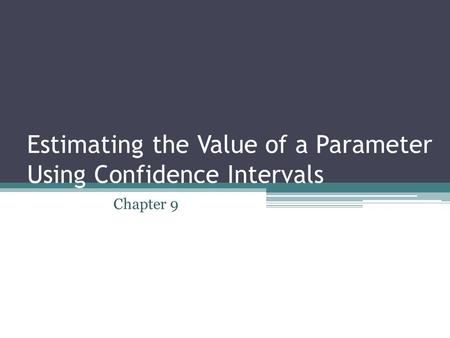 Estimating the Value of a Parameter Using Confidence Intervals Chapter 9.