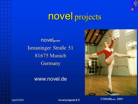  novel gmbh 2001 April 2001novel projects 9.3 novel projects novel gmbh Ismaninger Straße 51 81675 Munich Germany www.novel.de.